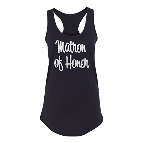 Classy Bride Matron of Honor Tank Top with Silver Glitter Print (Large (6-8), Black) (Top Glitter Print)