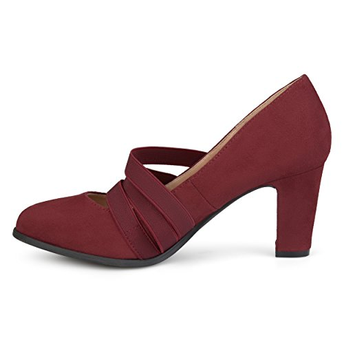 Brinley Co Womens Levin Faux Suede Comfort Sole Chunky Heel Almond Toe Triple Elastic Strap Heels Wine Dc6Nb