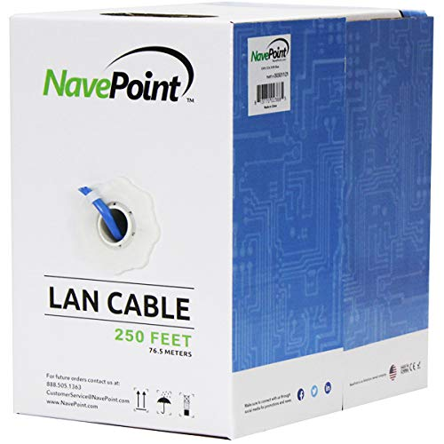 (NavePoint Cat6 (CCA), 250ft, Blue, Solid Bulk Ethernet Cable, 550MHz, 23AWG 4 Pair, Unshielded Twisted Pair (UTP))