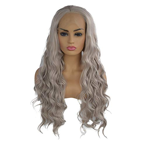Clearance Sale!DEESEE(TM)Curly Wig Glueless Full Lace Wigs Gray Women Indian Remy Human Hair Lace Front (Indian Wigs Hair Remy)