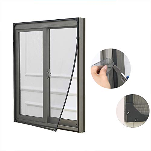Adjustable Magnetic Window Screen Netting Mesh Curtain,cutable Anti Mosquito Window Mosquito Net with Magic Tape-Black 100x100cm(39x39inch) ()