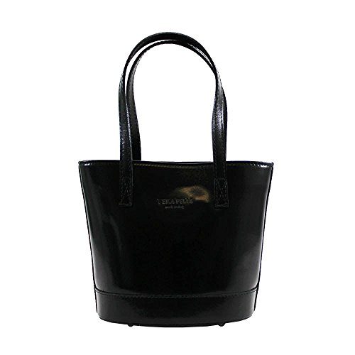 VERA PELLE REAL WOMENS BUCKET Black BAG TONE TWO STYLE SHOULDER LEATHER NEW twIHxx