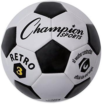 CHAMPION SPORTS - Pelota de fútbol, RETRO5, Negro/Blanco, Talla 5 ...