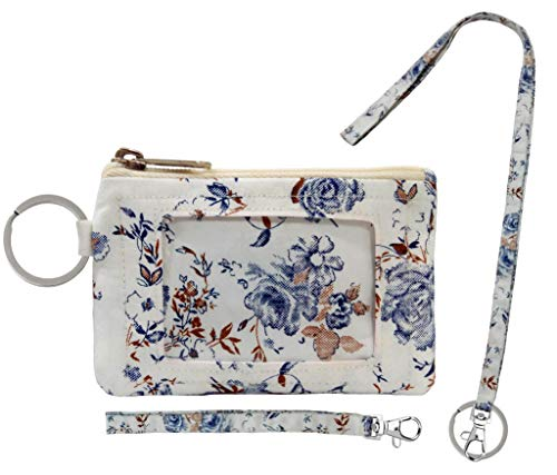 Zip ID Case, Lanyard & Wrist-let/Key Wallet/Credit Card Case Coins Purse with ID Window, Lanyard & Wrist-let/Cute ID Holder/Badge Clips (Snow Flowers) from Anya