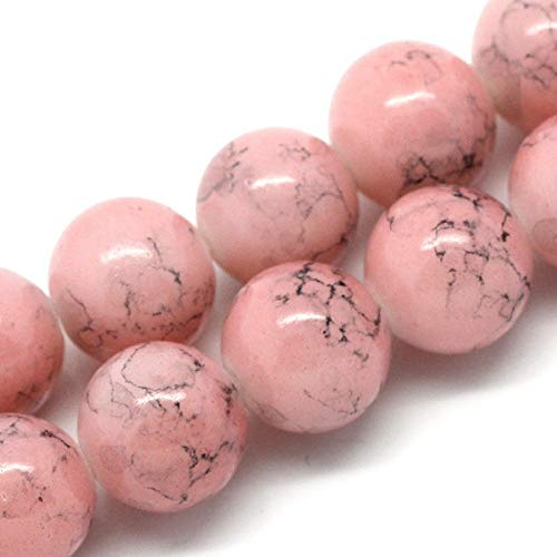 12mm Rose Pink and Black Swirl Marble Glass Beads 30 Beads bgl0263 Jewelry Making Supplies Set Crafts DIY Kit ()