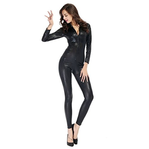 Unitard Costume Patterns (Women's Sexy Faux Leather Wet Look Zipper Catsuit Adult Cosplay Fancy Dress (US 4-6, Black))