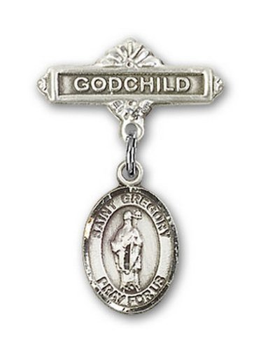 Icecarats Créatrice De Bijoux En Argent Sterling St. Gregory La Broche Badge Filleul Grand Charme 1 X 5/8