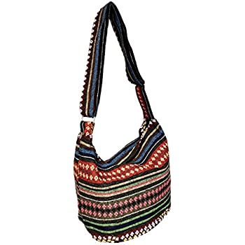 ddb8dbd036a Amazon.com: Large Hobo Tapestry Stripes Crossbody Sling Shoulder Bag ...