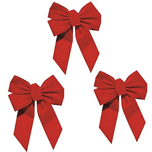 Red Bow Velvet - Rocky Mountain Goods Red Bow - Christmas Wreath Bow - Great for Large Gifts - Indoor/Outdoor use - Hand Tied in USA - Waterproof Velvet - Attachment tie Included for Easy Hanging (10-Inch 3 Pack)