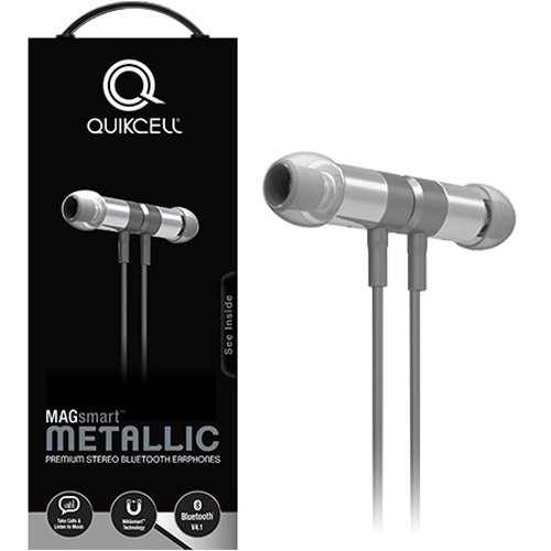 Quikcell Magsmart Full Metal Bluetooth Headset with Unique Play/Pause Controls for Apple & Android - Retail Packaging - Grey