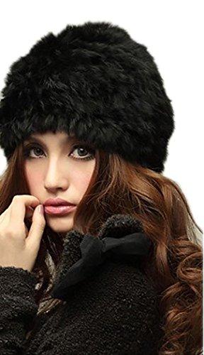 Veenajo Womens Winter Hat Knitted Rabbit Fur Hats Beanie Hats (Black)