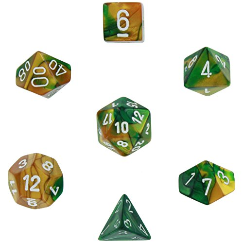 (Polyhedral 7-Die Gemini Dice Set - Gold-Green with White CHX26425)