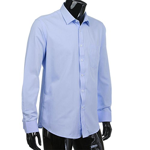 Men's Twill Long-Sleeved Shirt,ivyjuly New Solid Color Business Tops Formal Hot Fashion Daily Top Blouse (40, Blue) (Boys Long Sleeved Twill Shirt)