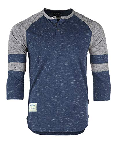 ZIMEGO Men's 3/4 Sleeve Baseball Football College Raglan Henley Athletic T Shirt Navy Grey