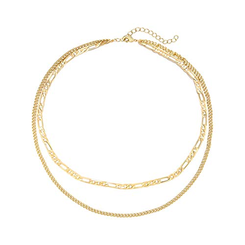 - SEAYII Women Figaro Choker Double Layer Necklace Gold Dainty Chain 14K Gold Fill Trendy Short Boho Beach Simple Delicate Handmade Gold Jewelry Gift