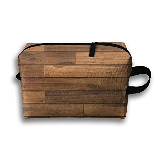 Toiletry Bag Multifunction Cosmetic Bag Portable Makeup Pouch Waterproof Travel Hanging Organizer Bag For Women Girls, Black Walnut Hardwood Flooring Countryside ()
