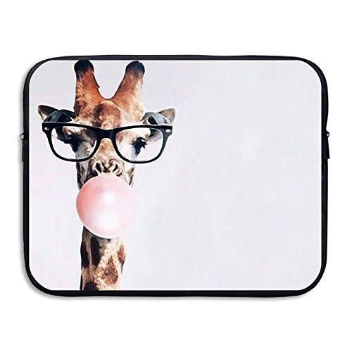(MIMIMITU Giraffe With Glasses Blows Bubbles Laptop Sleeve,Electronics Bag Neoprene Protective Waterproof Slim Laptop Sleeves Notebook Bag Accessories For Macbook Air Pro 13 Inch 15 Inch Laptop)