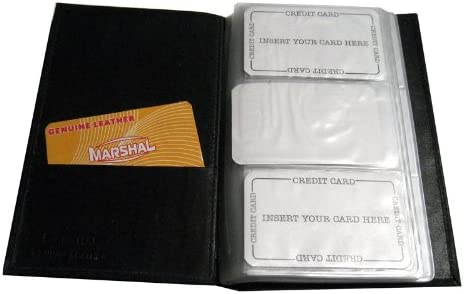 Genuine Leather Business Card Holder Organizer 120 Black Book Wallet Case New !!
