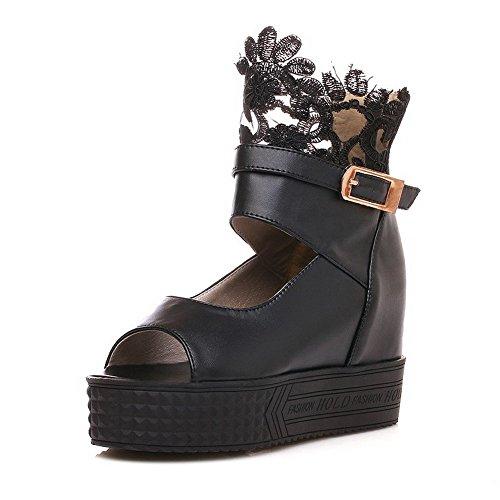 AllhqFashion Women's Open Toe Zipper PU Solid High-Heels Sandals Black F1iJaQ