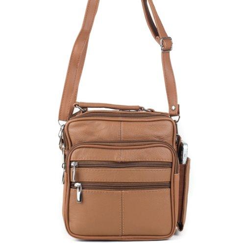 Goson Leather Shoulder or Camera Bag Handbag Unisex Great for Travel Organizer Pockets
