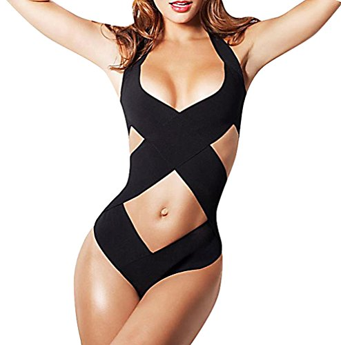 BKNY Stylish Bandage Monokini Swimsuit