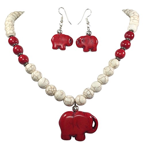 Red and Off White Stone Elephant Beaded Necklace and Dangle Earring Set (Red Elephant Necklace compare prices)