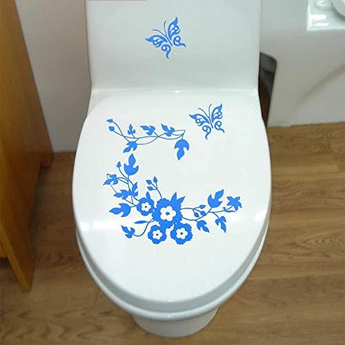 Ocamo DIY Sticker Removable Butterflies Flower Vine Decal Bathroom Toilet Decorative Sticker Blue