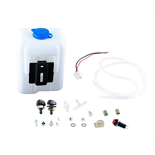 (Wadoy Universal Windshield Washer Pump Reservoir Kit 99300 Fluid Reservoir Tank Bottle with Pump)