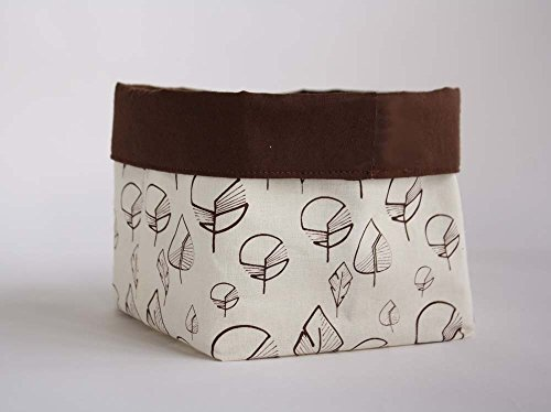 Basket in ecru cotton for storage or table, hand-printed with leaves in chocolate brown.