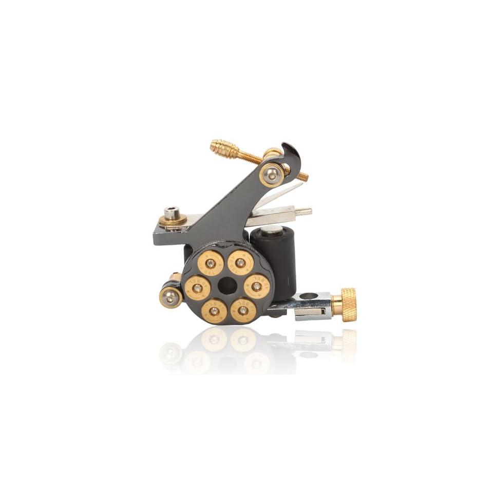 10 Wrap Coils Revolver Bullet Cast Iron Tattoo Machine Gun Shader