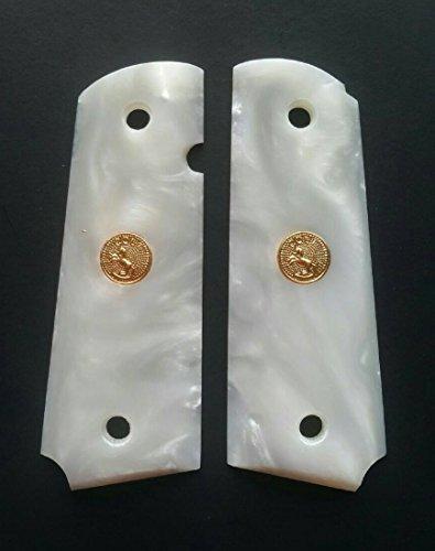 RESIN WHITE PEARL COLT 1911 1991 FULL SIZE GOLD MEDALLION HANDCRAFT HANDMADE GRIPS PISTOL