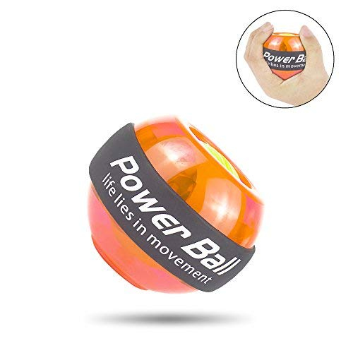 Wisdoman Wrist Ball Gyroscope Strengthener Ball, Gyroscopic Wrist and Forearm Exerciser, Gyroscope Powerball Wrist Strengthener Workout for Arm & Muscle Exercise at Home or Gym (Orange Upgraded) by Wisdoman