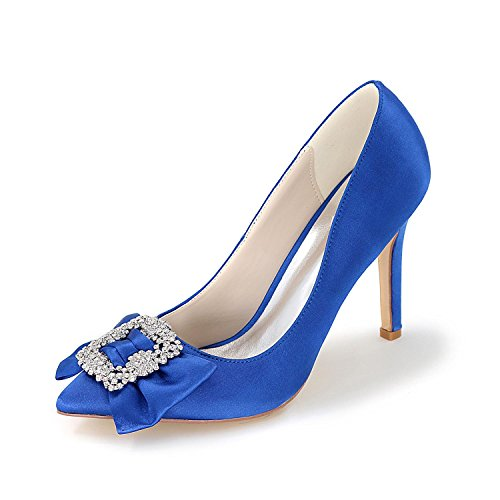 L@YC Women Wedding Shoes High-Heeled Shoes Toes Pump Lace Satin Wedding & Evening Multi-Color Large Yards Blue D6yPYmxe