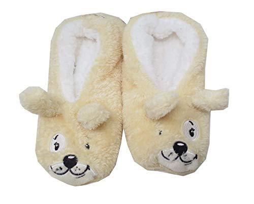 Slippers Dreams (Faceplant Dreams Dog Tired Footsies (Medium) Beige, White)