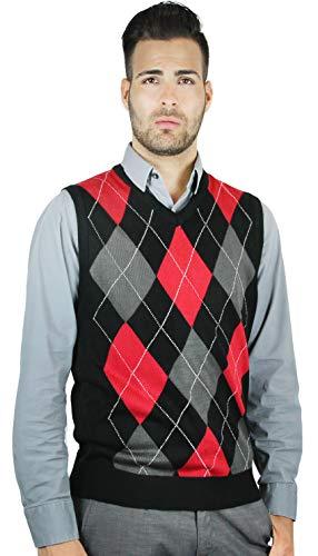 (Blue Ocean Argyle Sweater Vest-2X-Large Black-red)