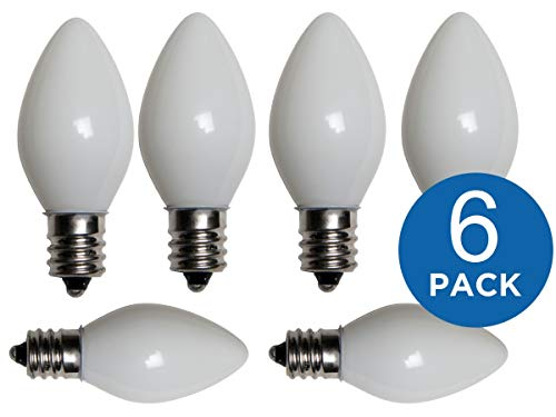 1InTheHome Replacement Light Bulbs for Electric Candle Lamps & Chandeliers – 7 Watt, Steady Burning – Pack of 6