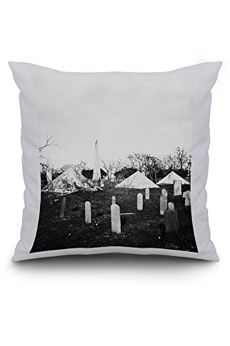 Savannah, GA - Soldiers Graveyard Civil War Photograph (20x20 Spun Polyester Pillow, Custom Border)