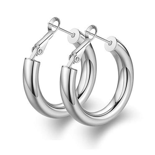 Thick Sliver Hoop Earrings Stud for Women Stainless Steel Sliver Plated Tube Hoop Stud Earrings