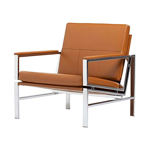 Leather Lounge Chair Indoor Accent Chair Armchair For Living Room Metal  Frame Upholstery Padded Armrests Shine