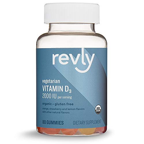 Amazon Brand - Revly Vitamin D3, 2000 IU per Serving (2 Gummies), 80 Gummies, Vegetarian, Organic