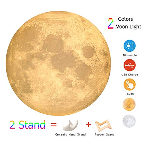 3D Moon Light, 2 Colors 4.7inch LED Moon Lamp, Touch Control Dimmable USB Charing Lunar Night Light with Ceramic Hand Stand and Magnetic Wood Stand for Child Birthday Valentine Christmas Presents