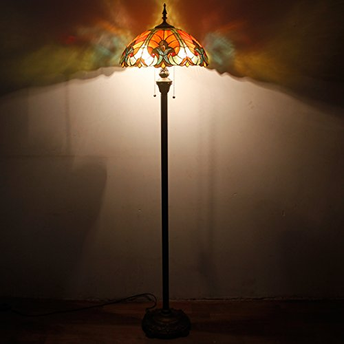 Tiffany Style Floor Standing Lamp 64 Inch Tall Red Liaison Stained Glass Shade 2 Light Antique Base for Bedroom Living Room Reading Lighting Coffee Table Set S160R WERFACTORY by WERFACTORY (Image #3)