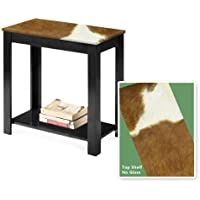 New Black Finish End Table featuring Authentic Light Brown Cowhide!