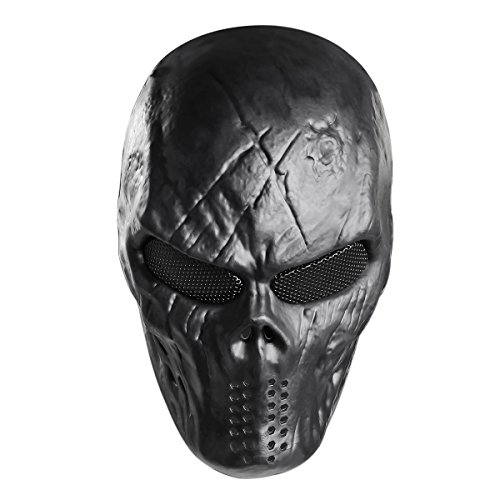 Cool Cosplay Costumes (UNOMOR  Halloween Tactical Airsoft Mask with Metal Mesh Eyes Protection for Party Costume - Black)