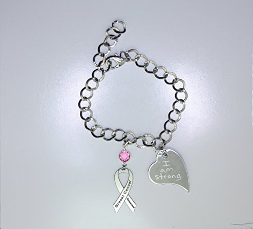 Personalized Breast Cancer Awareness Ribbon Bracelet - Breast Cancer Support Jewelry - Heart Charm with Your Personalized Message