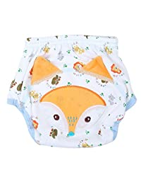Cute Cartoon Animal Pattern Cotton Leaking-proof Pants Underwear for 0-1 Baby(Orange)