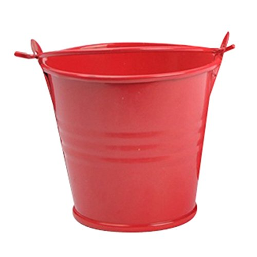 SODIAL(R) 10Pcs Mini Buckets Candy Favours Pails Buckets Wedding Party Gifts Red ()