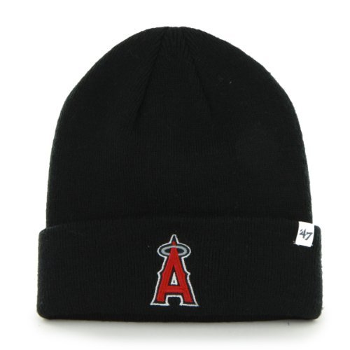 Anaheim Angels of Los Angeles Black Beanie Hat - MLB Cuffed Baseball Knit Cap