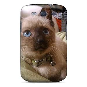 Hot FbvdW8081AcSMR Case Cover Protector For Galaxy S3- Saiamese Kitty