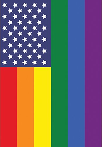 Toland Home Garden Patriotic Pride 28 x 40 Inch Decorative Gay Lesbian Rainbow Support America House Flag